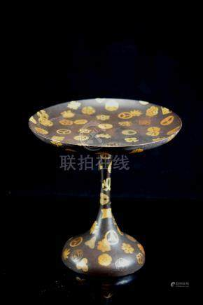 Japanese Edo Period Lacquer High Foot Dish with Warlord