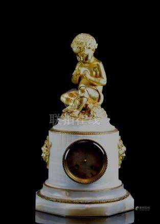 French Clock - Gilt Bronze Boy on Alabaster Base