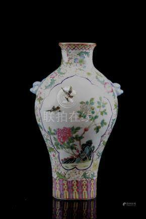 Chinese Republic Porcelain Vase with Foolion Mask