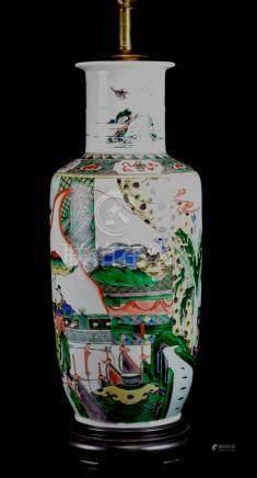 Chinese Famille Verte Rouleat Porcelain Vase