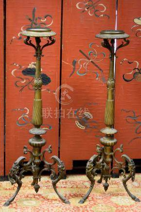 Large Pair French Bronze Floor Candle Holder