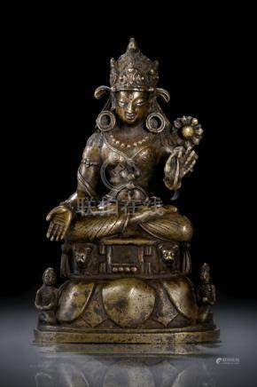 A FINE SILVER AND COPPER INLAID BRONZE FIGURE OF TARA, SWAT VALLEY, ca. 9th ct., seated in vajrasana