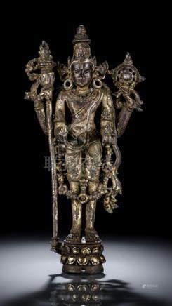 A FINE AND RARE SILVER INLAID GILT-BRONZE FIGURE OF VISHNU, NORTHEAST-INDIA, PALA PERIOD, 12th ct.,
