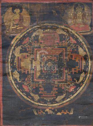 TWO MANDALA, Tibet, 18th/19th ct., textile mounts - Property from an important South German private