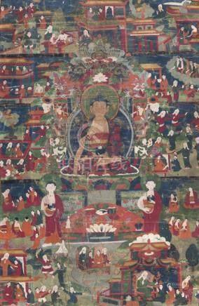 TWO THANGKA, one with Padmasambhava and one with Buddha Shakyamuni, Tibet, 19th ct., silk and textil
