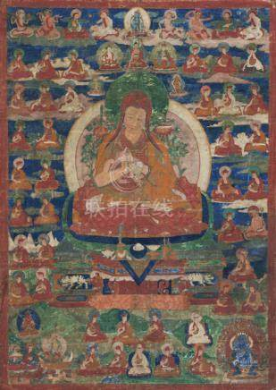 TWO THANGKA WITH LAMAS, Tibet, 18th ct., with depictions of monks and scholars, mostly from the b-Ka