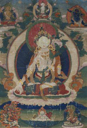 A GROUP OF FOUR THANGKA WITH SILK OR TEXTILE MOUNTS, Tibet, 19th ct. - Property from an important So