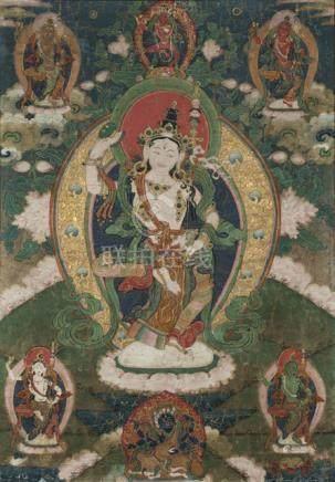 A THANGKA DEPICTING A DAKINI, TIBET, 19th ct., 56 x 39 cm, framed, the white Dakini is dancing on a