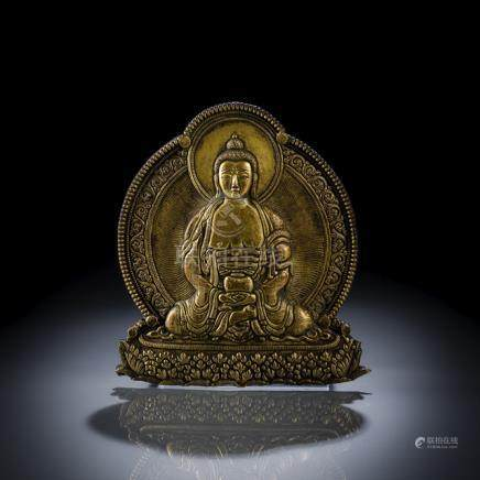 AN EMBOSSED GILT-BRONZE PLAQUE DEPICTING BUDDHA SHAKYAMUNI, Bhutan, 19th ct., the plaque embossed in