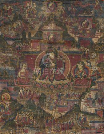 A GROUP OF FOUR THANGKA WITH LAMA, Tibet, 18th ct. and later - Property from an important South Germ