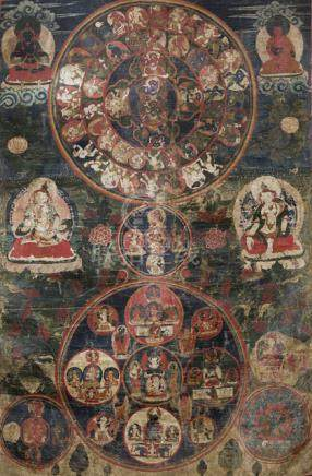 A RARE THANGKA WITH SCENES OF THE TIBETAN BARDO, Northern Nepal, Sherpa tradition, 18th ct. - Proper