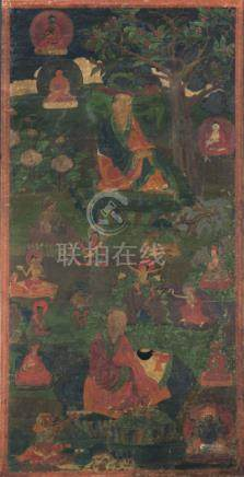 A THANGKA DEPICTING TWO ARHATS, TIBET, 18th ct., 93 x 45 cm, framed and glazed. Both arhats seated w