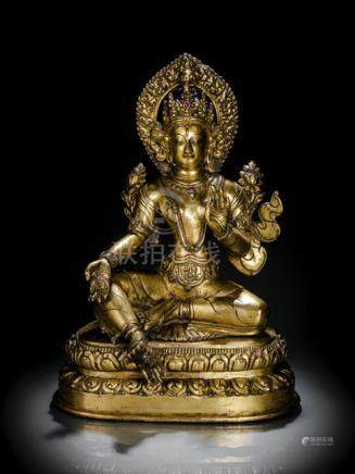 A GILT-BRONZE FIGURE OF SYAMATARA, Nepal, 18th ct., seated in lalitasana on a lotus base with her ri