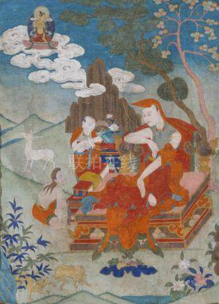 A FINE THANGKA DEPICTING A LAMA, TIBET, 18th ct., in brocade mounting. Seated with legs crossed on a