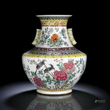 A LARGE FAMILLE ROSE BIRD AND FLOWER VASE, China, Qianlong six-character mark in underglaze-red, Gua
