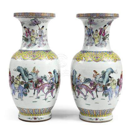 A LARGE PAIR OF FAMILLE ROSE PORCELAIN VASES WITH IMMORTALS AND FIGURAL SCENES, China, Guangxu perio