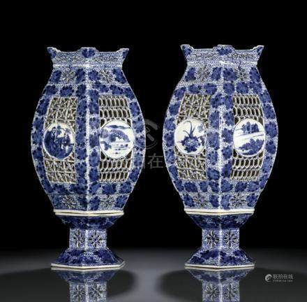 A PAIR OF BLUE AND WHITE TWO-PART PORCELAIN LANTERNS, China, Guangxu/Republic period - Property from