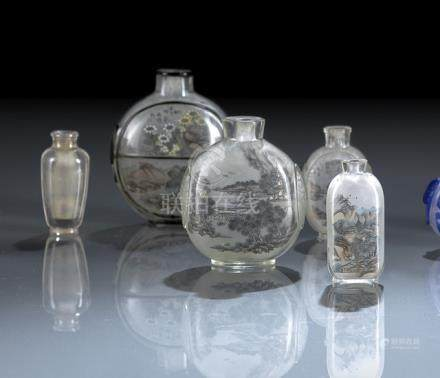 A GROUP OF SIX INSIDE PAINTED GLASS SNUFFBOTTLES AND A CRYSTAL SNUFFBOTTLE, China, late Qing/Republi