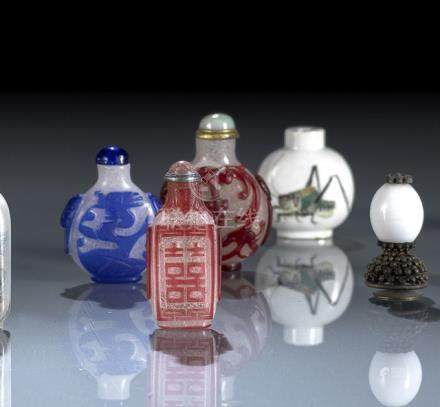 A GROUP OF SEVEN GLASS OR PORCELAIN SNUFFBOTTLES, China, few marked, 19th ct./late Qing dynastyPrope