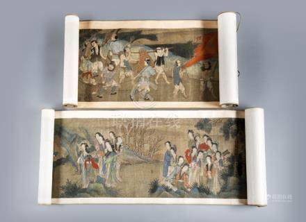 TWO HANDSCROLLS OF LADIES IN A GARDEN LANDSCAPE AND TRIBUTE BEARERS, ink and colors on silk, signed