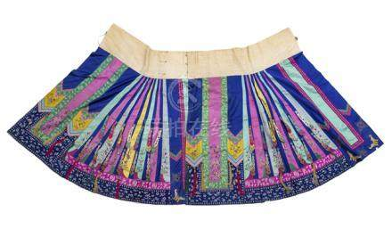 A WOMAN'S DOMESTIC SKIRT, QUN, China, Guangxu period, with a wide cotton waistband, made of two part