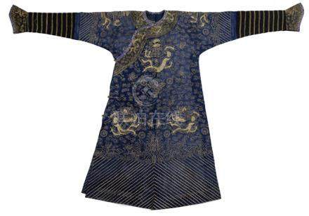 A BLUE-GROUND SILK DRAGON ROBE, JIFU, China, 19th ct., decorated with metal threads, the dragons ami