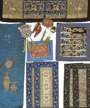 A GROUP OF 13 TEXTILES AND UTENSILS, China, Qing/Republic period, consisting of two pairs of mandari