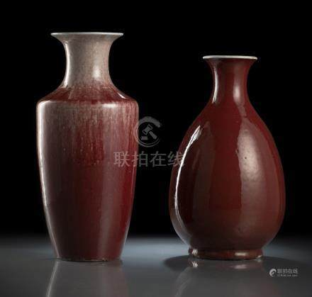 TWO OXBLOOD-GLAZED VASES, China, Republic period - Property from the collection of Heinrich Theodor