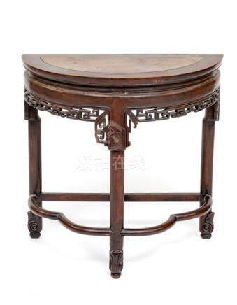 A HALF-ROUND HARDWOOD TABLE, China, Qing/Republic period - Property from the collection of Heinrich