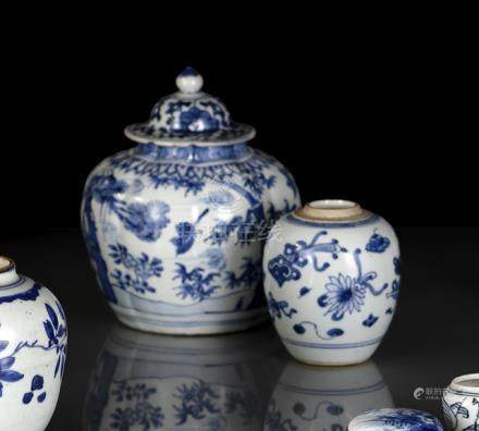 TWO BLUE AND WHITE PORCELAIN JARS WITH BAMBOO AND ANTIQUES, China, 18th ct. - The larger jar slightl