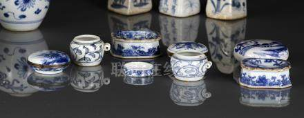 THREE BLUE AND WHITE PORCELAIN BIRD FEEDERS, THREE SEAL PASTE BOXES, AND TWO SALT DISHES, China, one