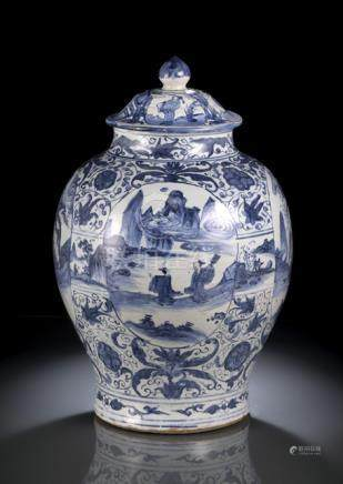 A LARGE BLUE AND WHITE LANDSCAPE AND SCHOLARS VASE AND COVER, China, Wanli period - Firing cracks, p