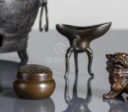 A PART-GILT BRONZE JUE AND A CIRCULAR CENSER OR HAND WARMER, China, 17th ct. and Japan, seal mark, 2