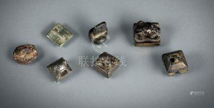 A GROUP OF SEVEN BRONZE SEALS, China, Ming and Qing dynasty - Partly with damages