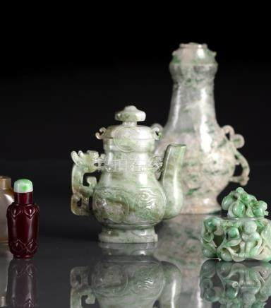 A JADE OR STONE EWER AND COVER, A VASE AND COVER AND A VESSEL AND COVER, China, Republic period/20th