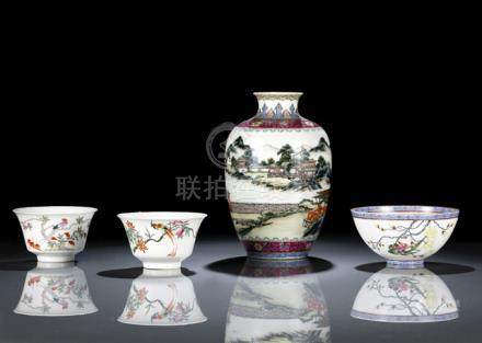 A PORCELAIN LANDSCAPE VASE AND THREE FLOWER AND BIRD BOWLS, China, Jurentang and Qianlong marks in i