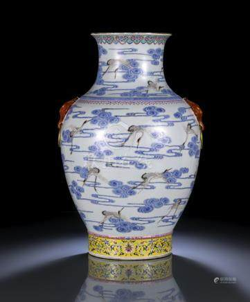 A LARGE FAMILLE ROSE EGRET AMIDST CLOUDS VASE, China, Qianlong six-character seal mark in iron-red,