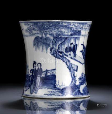 A CONCAVE BLUE AND WHITE LITERARY SCENE BRUSH POT, China, Kangxi six-character mark in underglaze-bl