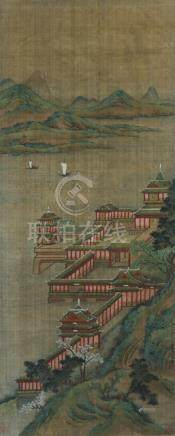 In the Style of Zhao Boju (died ca. 1162), Palace at the Lake Shore, China, Qing dynasty, framed und