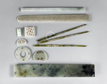 A GROUP OF EIGHT JADES AND THREE STONE CHOPSTICKS, China, Qing dynasty and later - the chopsticks wi
