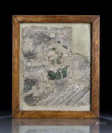 A STUCCO PAINTING OF A THE THUNDER GOD, China, early Qing dynasty - Old cracks, partially glued, emb