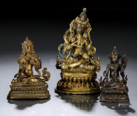 TWO GILT-BRONZE FIGURES AND ONE BRONZE FIGURE OF VAJRADHARA AND SITATARA, NEPAL, 17th-19th ct., h. 1