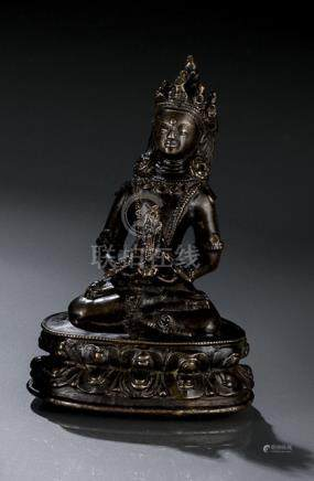A BRONZE FIGURE OF AMITAYUS, TIBET, 15th ct., seated in vajrasana on a lotus base with both hands re