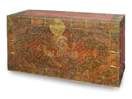 A LARGE POLYCHROME DECORATED WOODEN DRAGON CHEST, Tibet, 19th ct.  - Property from an old German pri