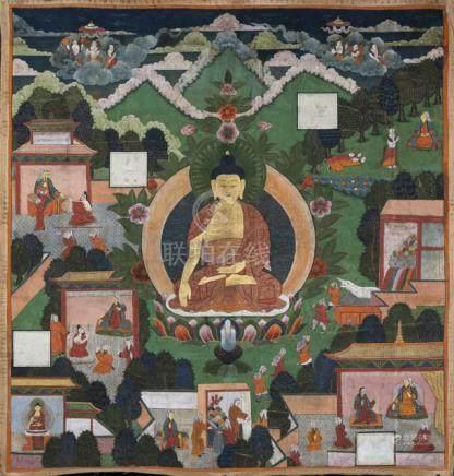 A LARGE THANGKA OF BUDDHA SHAKYAMUNI, Tibet, 19th ct., The 'Jataka Tales' are a voluminous body of l
