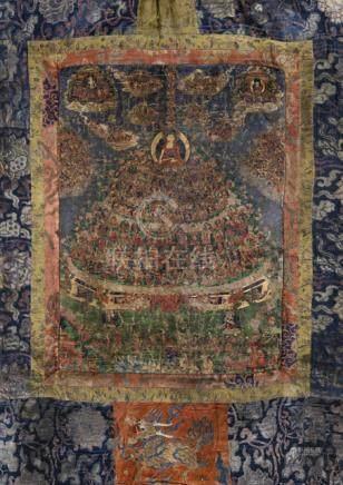 CHOG ZING - GREAT TREE OF REFUGE OF THE GELUGPA SCHOOL, Tibet, 19th ct., Original brocade mounting,