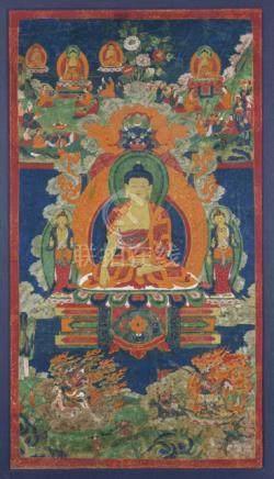 A THANGKA OF BUDDHA SHAKYAMUNI, Tibet, 18th/19th ct., framed under glass - Property from an importan
