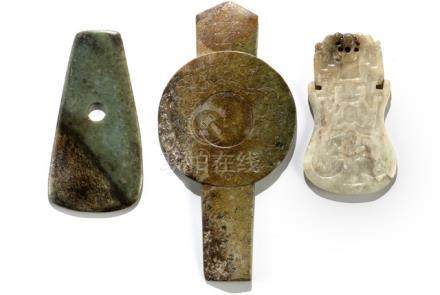 'GUI-BI', JUE AND A CEREMONIAL AXTT HEAD, China, Neolithic period and later, Property from an import