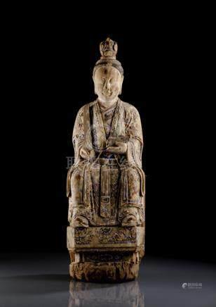 A POLYCHROME WOOD FIGURE OF A FEMALE DEITY, CHINA, ca. 18th ct., seated in the so-called European fa