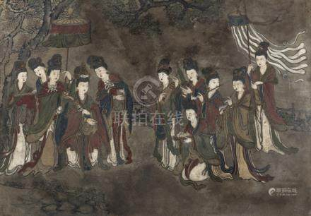 A FINE STUCCO PAINTING WITH A SCENE OF FEMALE IMMORTALS, China, Ming dynasty, framed - Minor damages